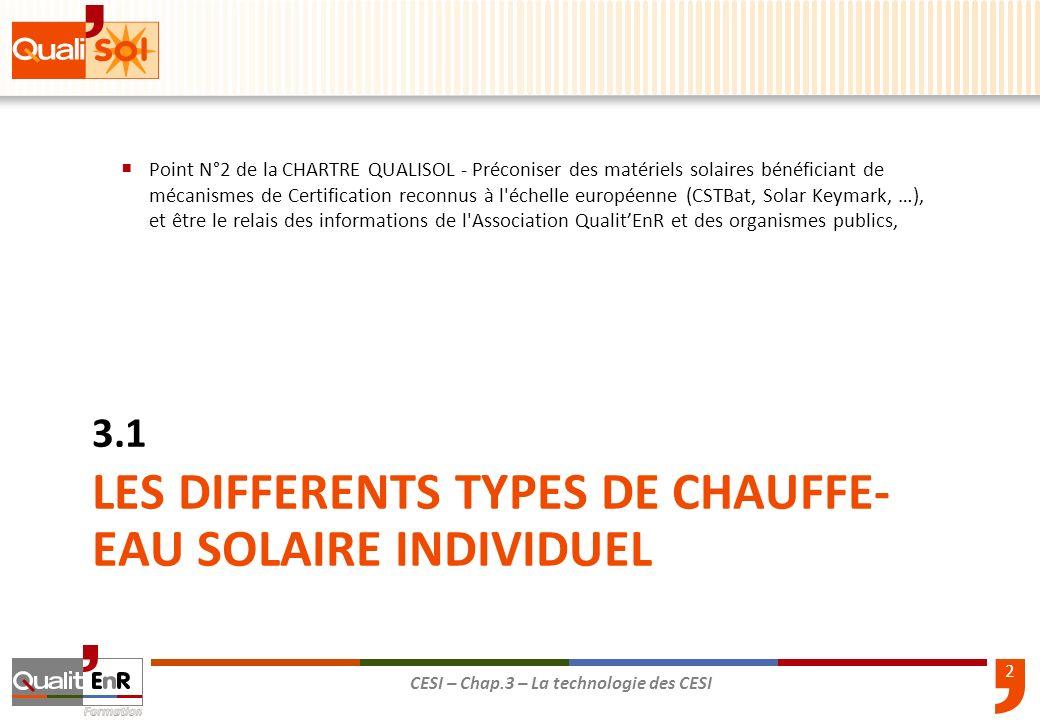 LES DIFFERENTS TYPES DE CHAUFFE- EAU SOLAIRE INDIVIDUEL