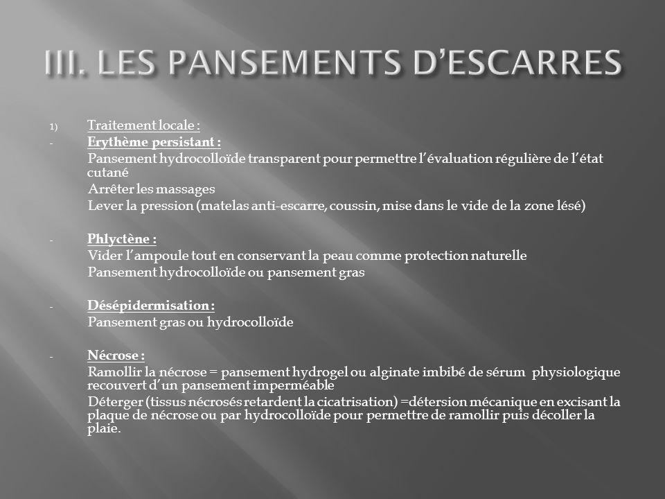 III. LES PANSEMENTS D'ESCARRES