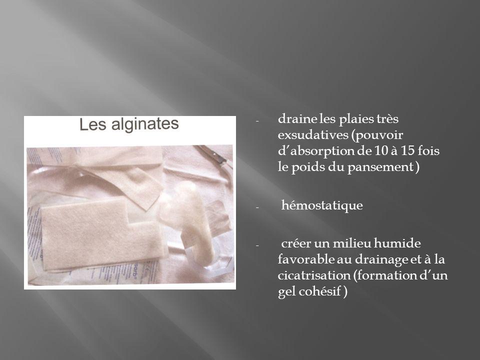 draine les plaies très exsudatives (pouvoir d'absorption de 10 à 15 fois le poids du pansement )