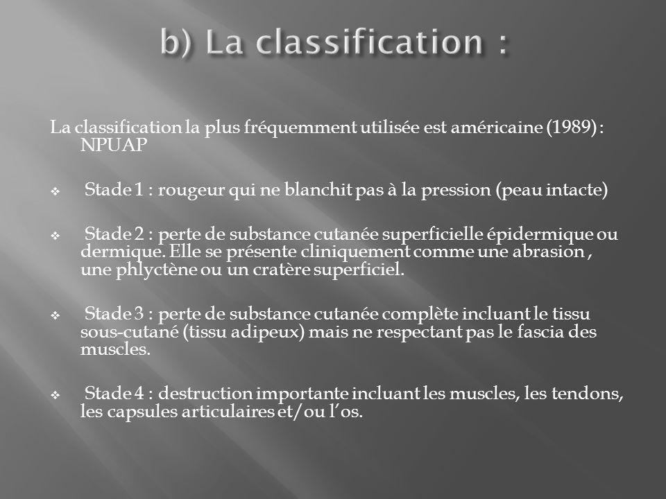 b) La classification : La classification la plus fréquemment utilisée est américaine (1989) : NPUAP.