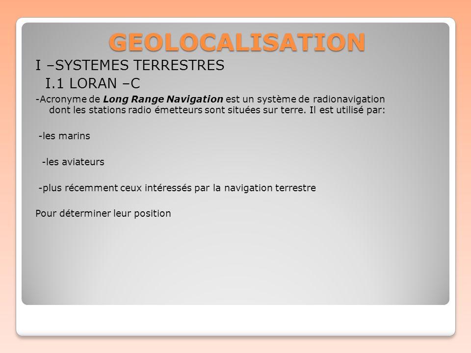GEOLOCALISATION I –SYSTEMES TERRESTRES I.1 LORAN –C