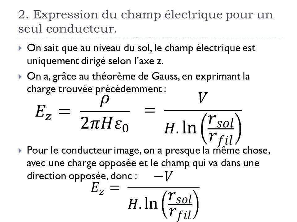 2. Expression du champ électrique pour un seul conducteur.