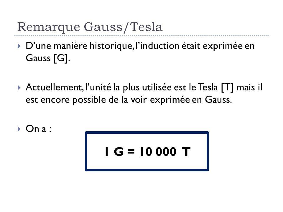 Remarque Gauss/Tesla 1 G = 10 000 T
