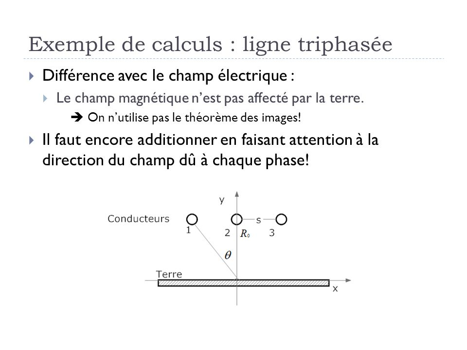 Exemple de calculs : ligne triphasée