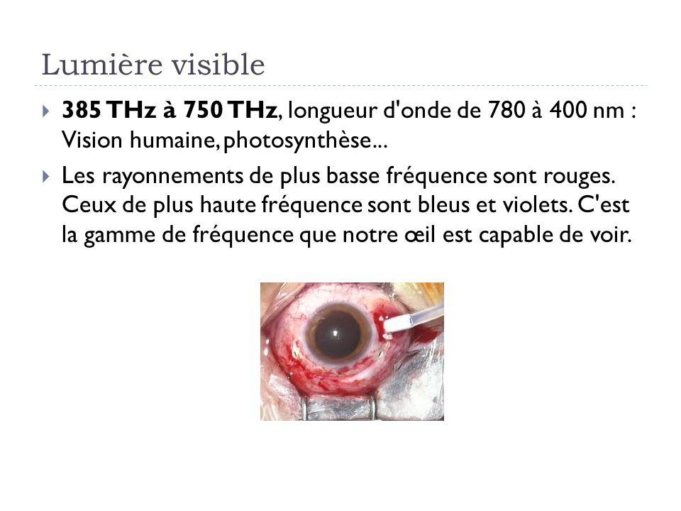 Lumière visible 385 THz à 750 THz, longueur d onde de 780 à 400 nm : Vision humaine, photosynthèse...