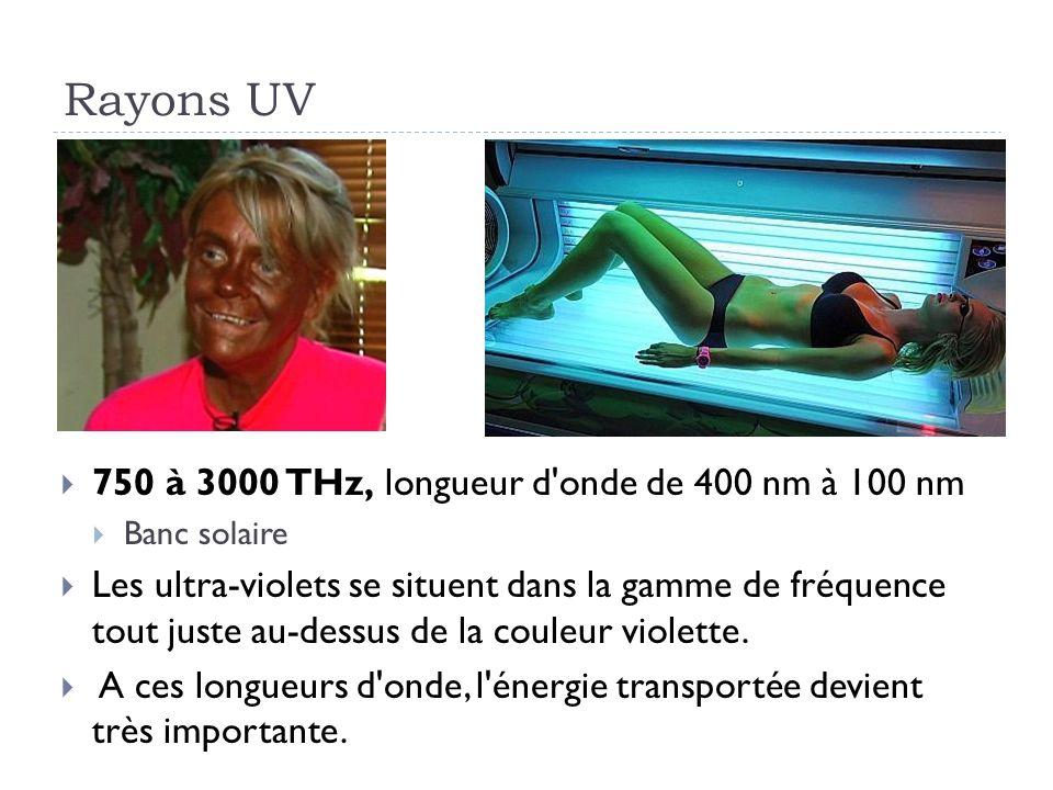 Rayons UV 750 à 3000 THz, longueur d onde de 400 nm à 100 nm