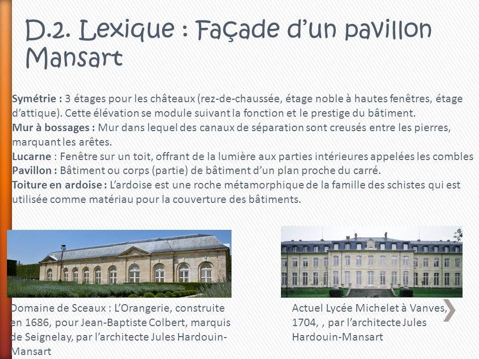 D.2. Lexique : Façade d'un pavillon Mansart