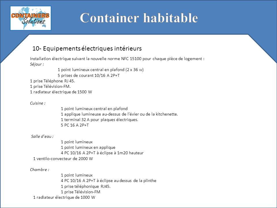 Container habitable 10- Equipements électriques intérieurs