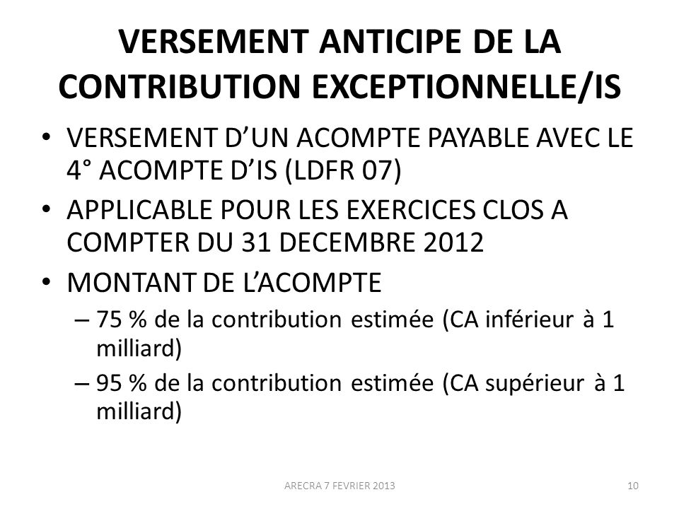 VERSEMENT ANTICIPE DE LA CONTRIBUTION EXCEPTIONNELLE/IS