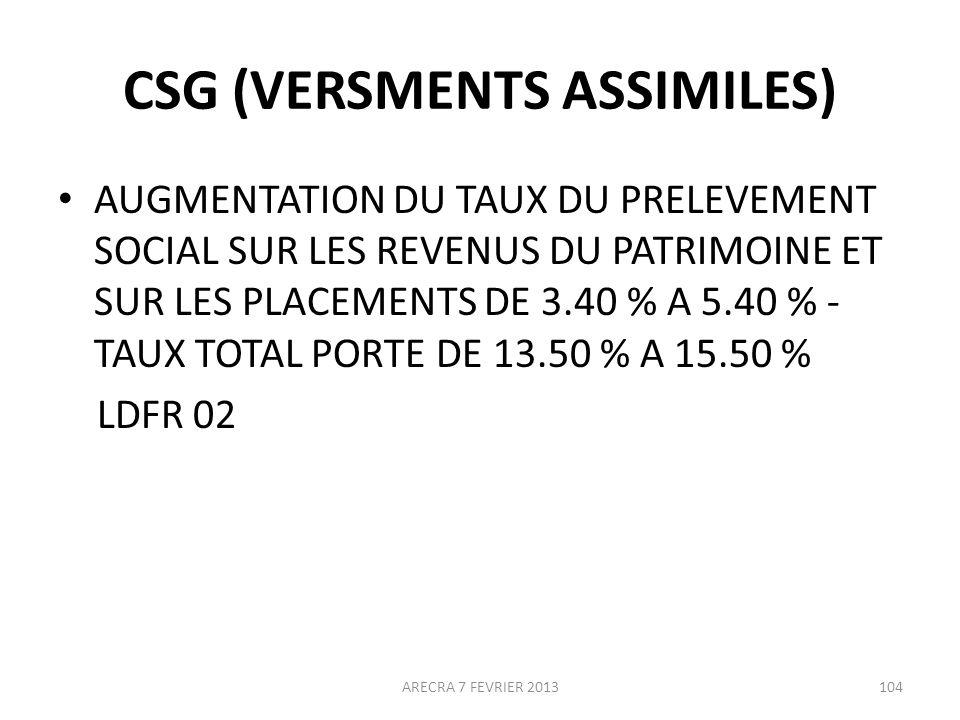 CSG (VERSMENTS ASSIMILES)