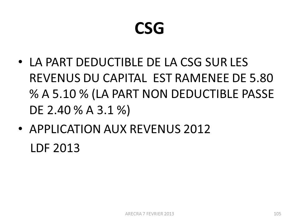 CSG LA PART DEDUCTIBLE DE LA CSG SUR LES REVENUS DU CAPITAL EST RAMENEE DE 5.80 % A 5.10 % (LA PART NON DEDUCTIBLE PASSE DE 2.40 % A 3.1 %)