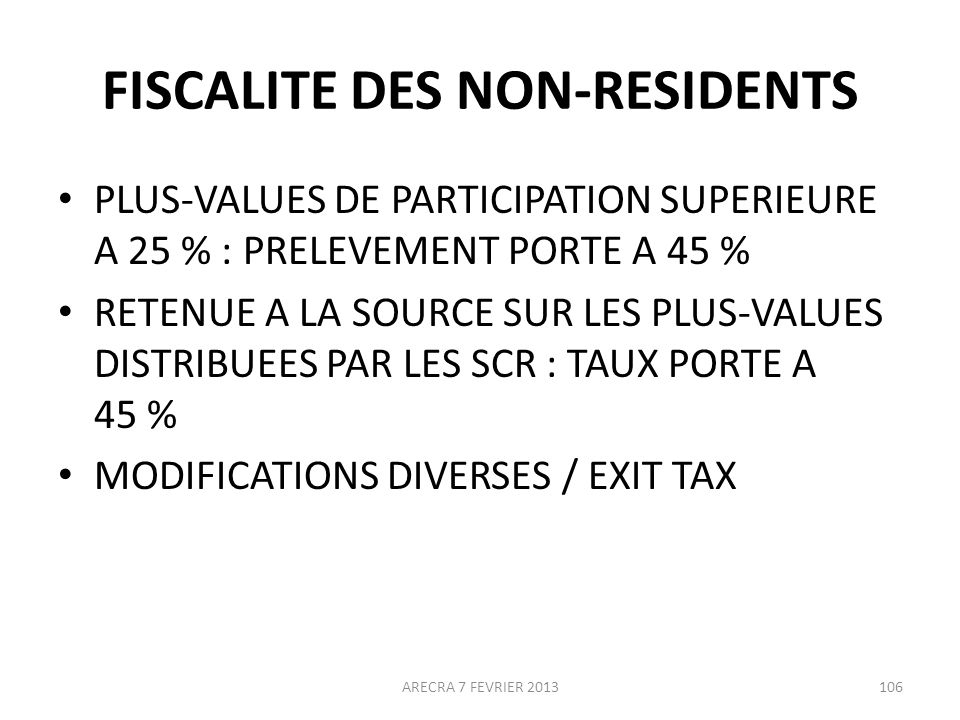 FISCALITE DES NON-RESIDENTS