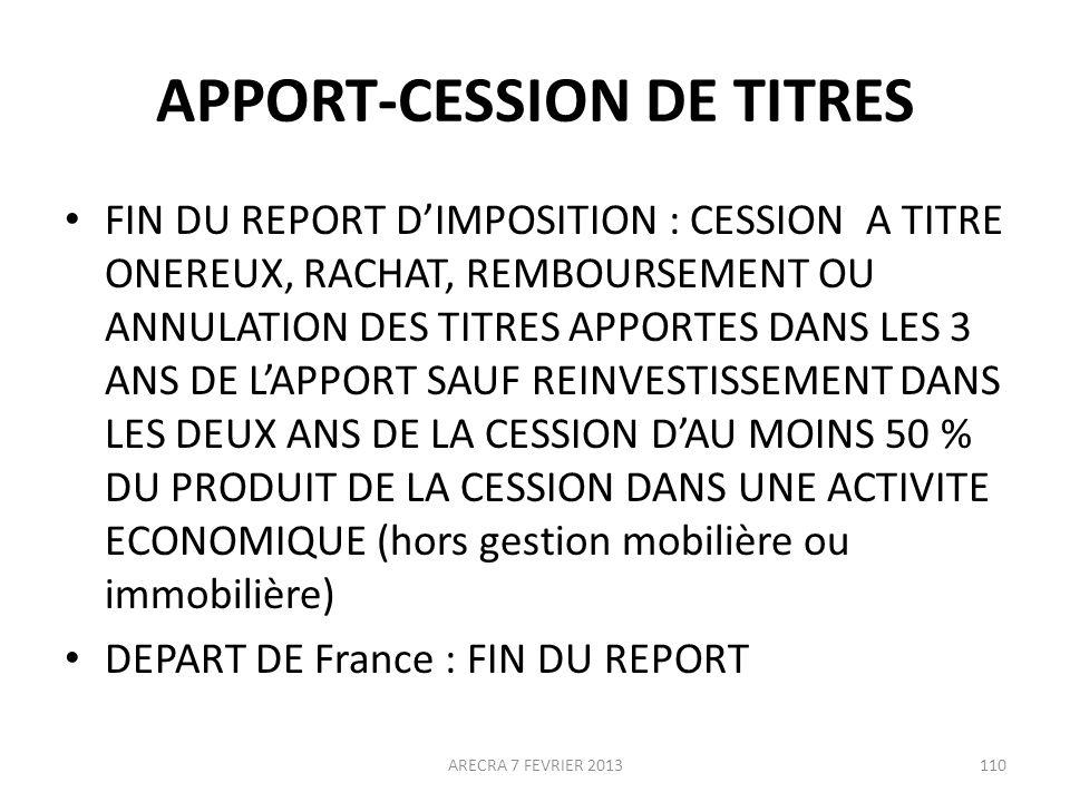 APPORT-CESSION DE TITRES