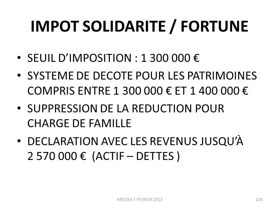 IMPOT SOLIDARITE / FORTUNE