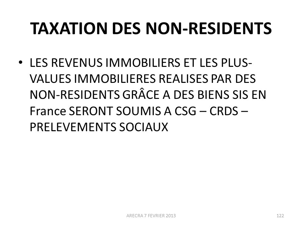 TAXATION DES NON-RESIDENTS