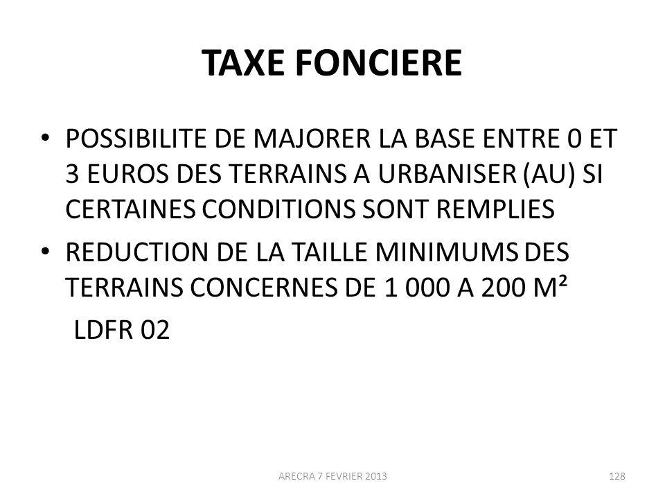 TAXE FONCIERE POSSIBILITE DE MAJORER LA BASE ENTRE 0 ET 3 EUROS DES TERRAINS A URBANISER (AU) SI CERTAINES CONDITIONS SONT REMPLIES.
