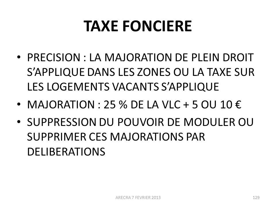 TAXE FONCIERE PRECISION : LA MAJORATION DE PLEIN DROIT S'APPLIQUE DANS LES ZONES OU LA TAXE SUR LES LOGEMENTS VACANTS S'APPLIQUE.