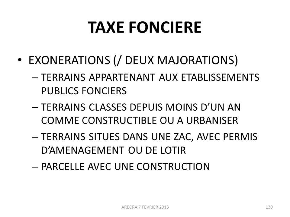 TAXE FONCIERE EXONERATIONS (/ DEUX MAJORATIONS)