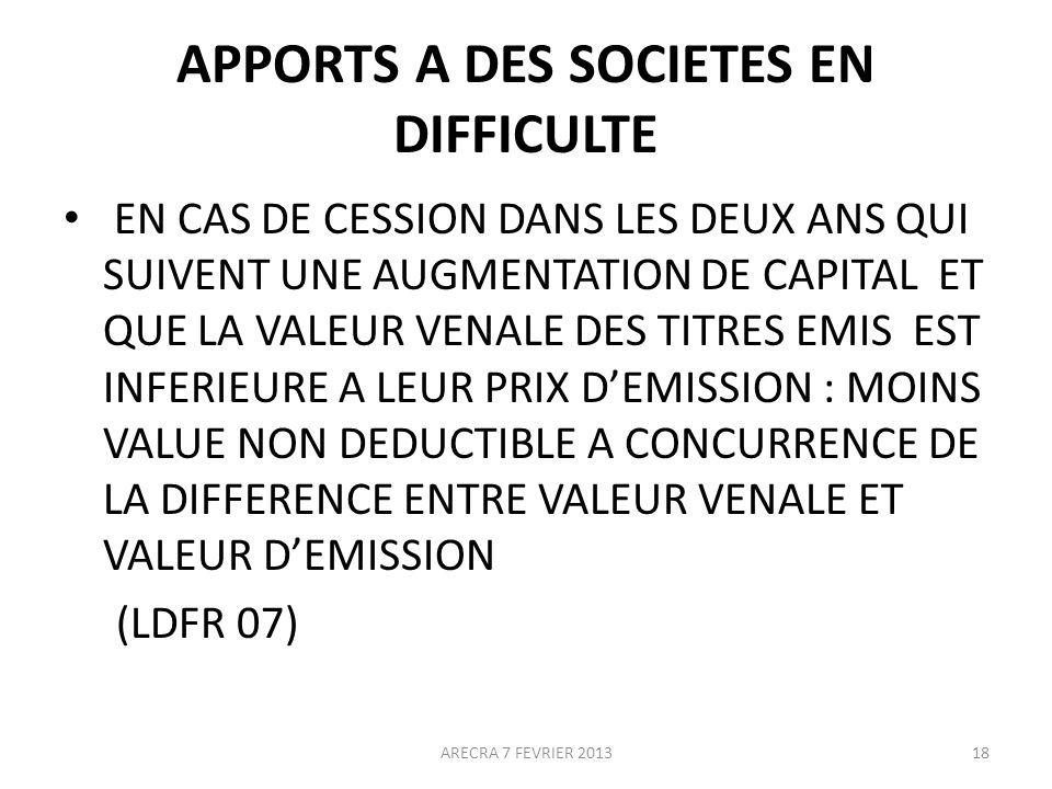 APPORTS A DES SOCIETES EN DIFFICULTE
