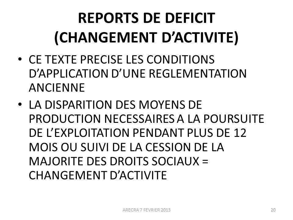 REPORTS DE DEFICIT (CHANGEMENT D'ACTIVITE)