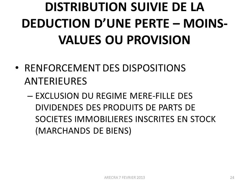 DISTRIBUTION SUIVIE DE LA DEDUCTION D'UNE PERTE – MOINS-VALUES OU PROVISION