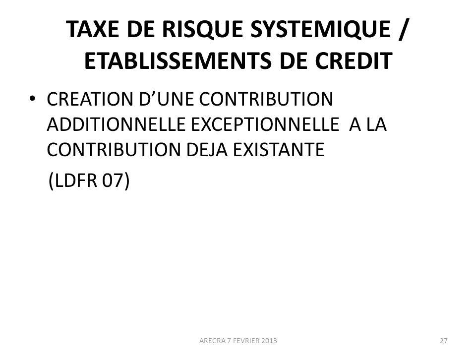 TAXE DE RISQUE SYSTEMIQUE / ETABLISSEMENTS DE CREDIT