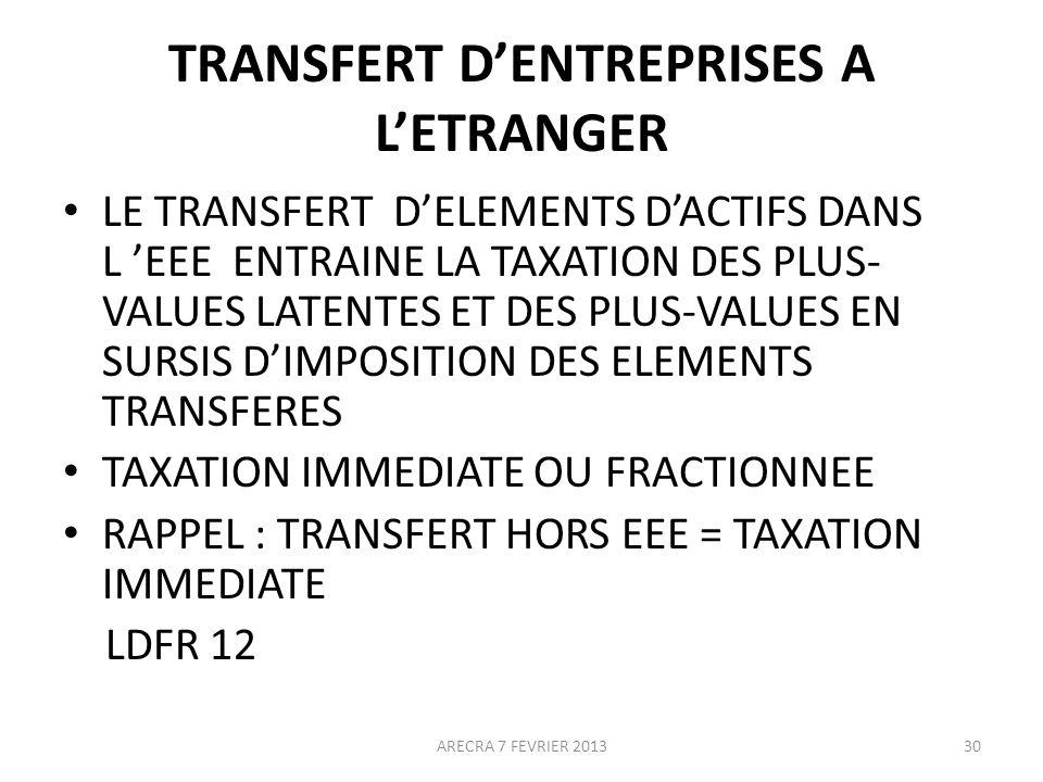 TRANSFERT D'ENTREPRISES A L'ETRANGER