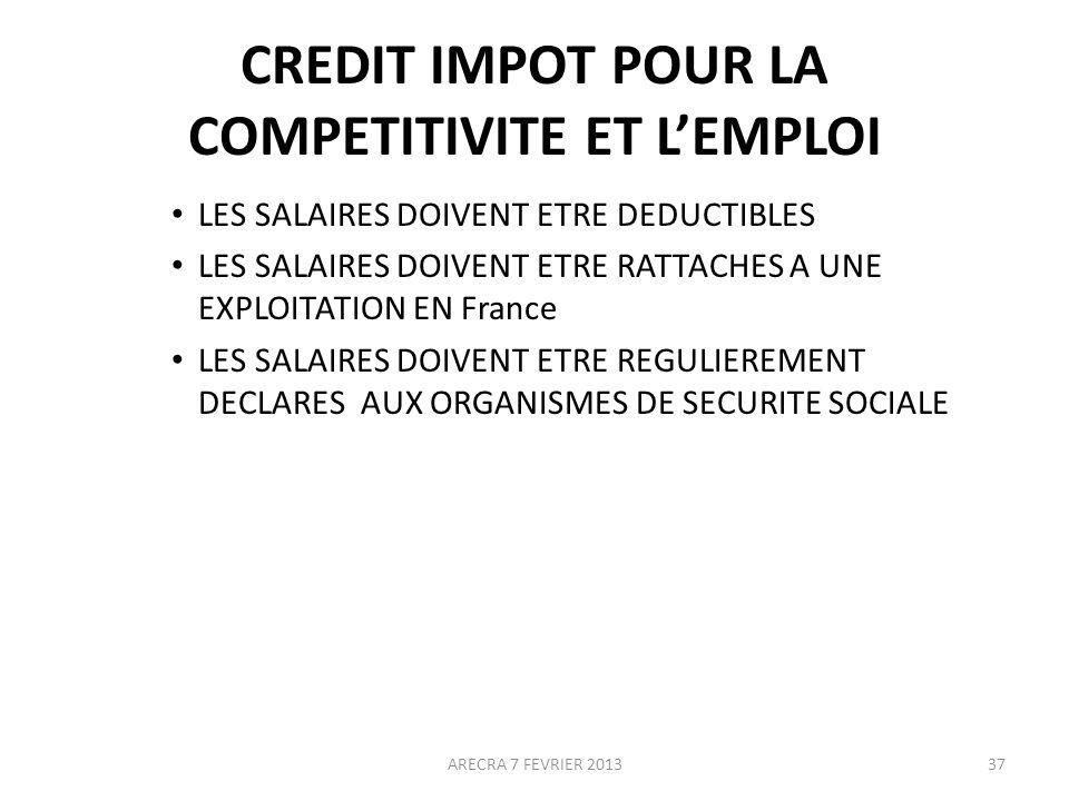 CREDIT IMPOT POUR LA COMPETITIVITE ET L'EMPLOI