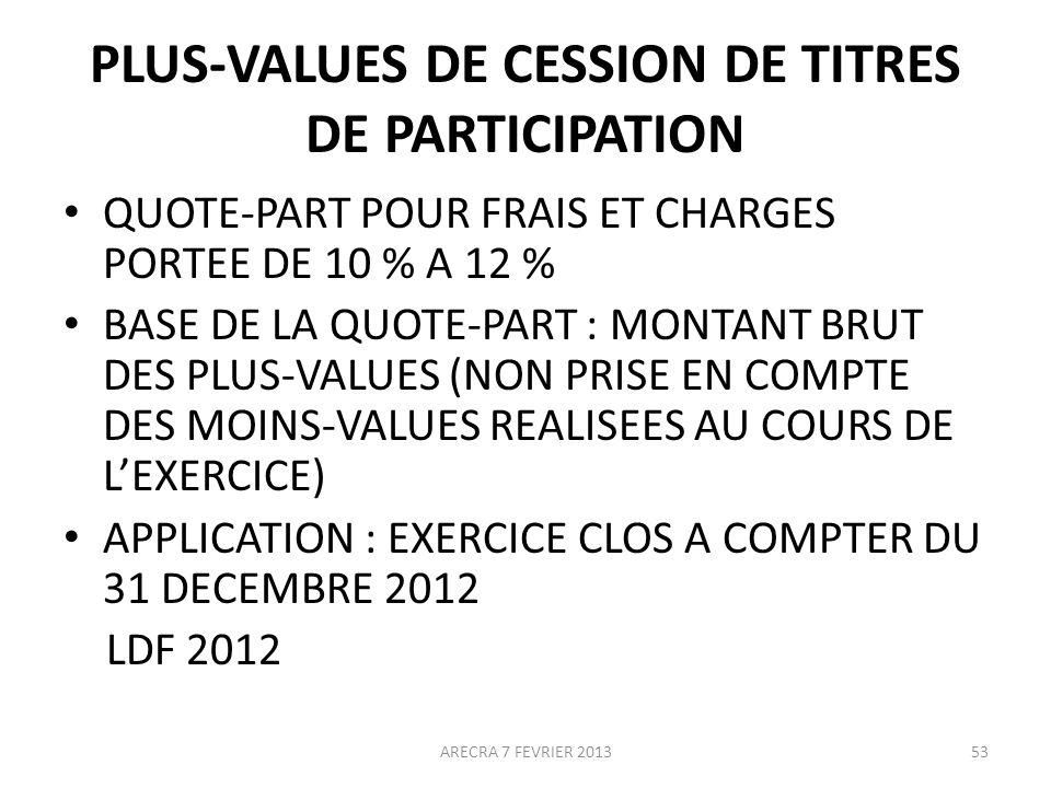 PLUS-VALUES DE CESSION DE TITRES DE PARTICIPATION