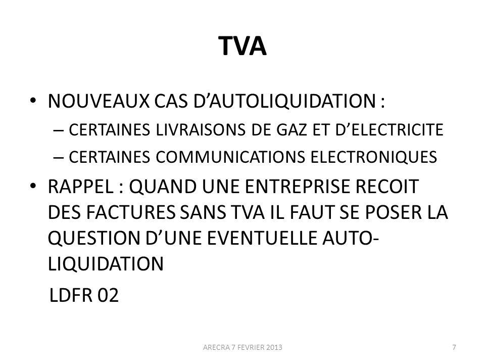 TVA NOUVEAUX CAS D'AUTOLIQUIDATION :