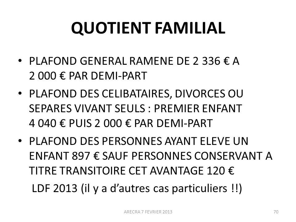 QUOTIENT FAMILIAL PLAFOND GENERAL RAMENE DE 2 336 € A 2 000 € PAR DEMI-PART.