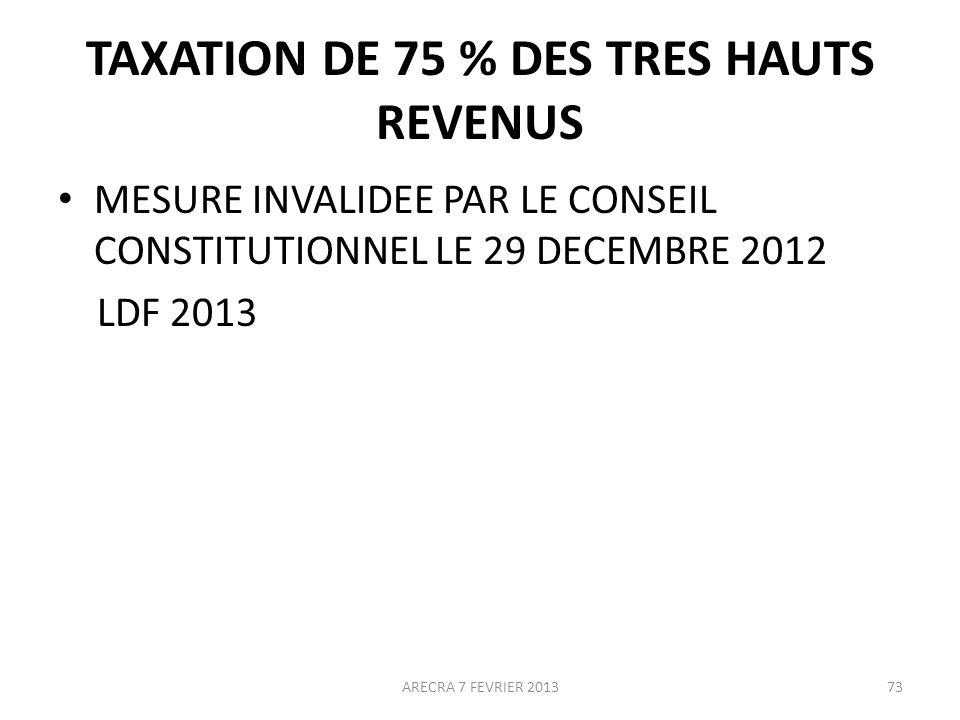 TAXATION DE 75 % DES TRES HAUTS REVENUS