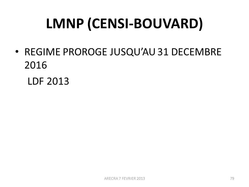 LMNP (CENSI-BOUVARD) REGIME PROROGE JUSQU'AU 31 DECEMBRE 2016 LDF 2013