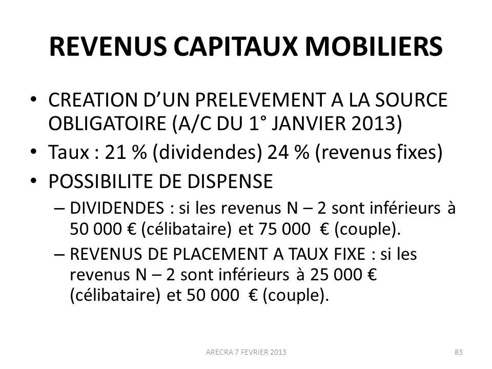 REVENUS CAPITAUX MOBILIERS