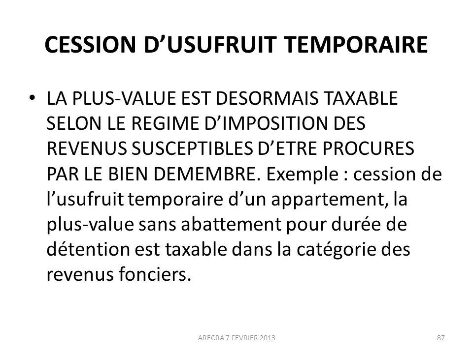 CESSION D'USUFRUIT TEMPORAIRE