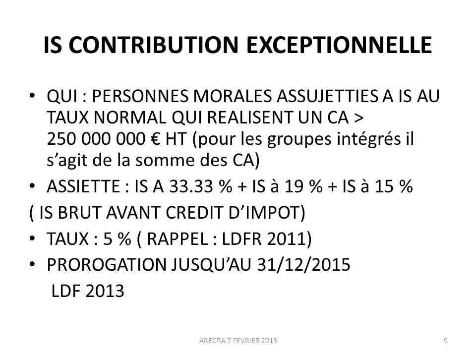 IS CONTRIBUTION EXCEPTIONNELLE