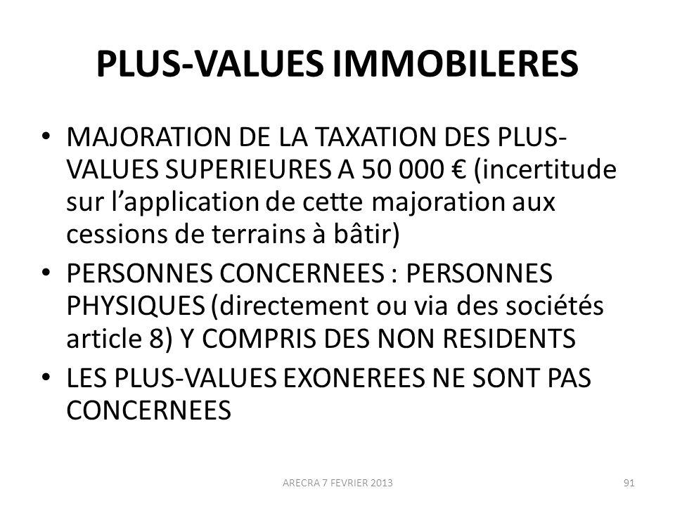 PLUS-VALUES IMMOBILERES
