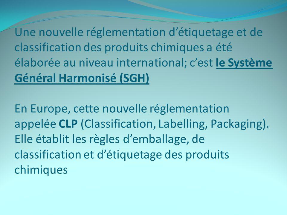 Une nouvelle réglementation d'étiquetage et de classification des produits chimiques a été élaborée au niveau international; c'est le Système Général Harmonisé (SGH) En Europe, cette nouvelle réglementation appelée CLP (Classification, Labelling, Packaging).