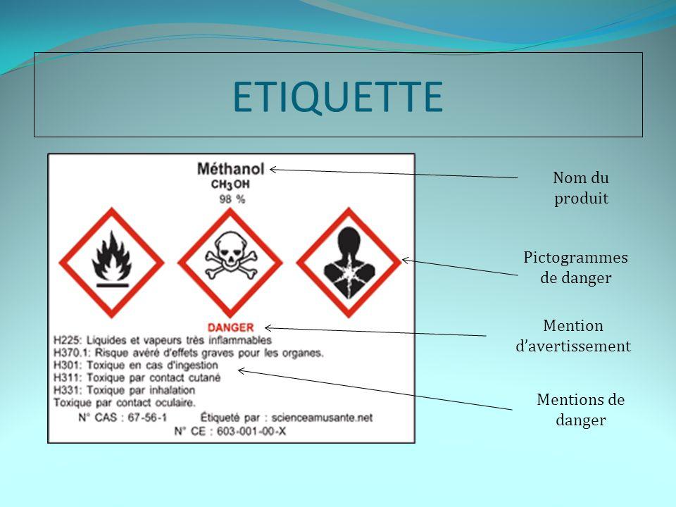 ETIQUETTE Nom du produit Pictogrammes de danger