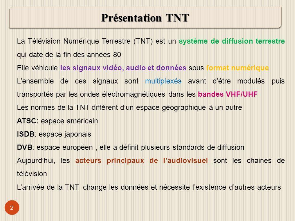 Présentation TNT La Télévision Numérique Terrestre (TNT) est un système de diffusion terrestre qui date de la fin des années 80.