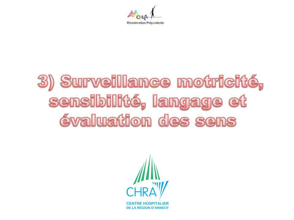 3) Surveillance motricité, sensibilité, langage et évaluation des sens