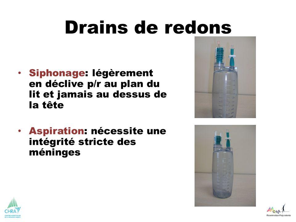 Drains de redons Siphonage: légèrement en déclive p/r au plan du lit et jamais au dessus de la tête.