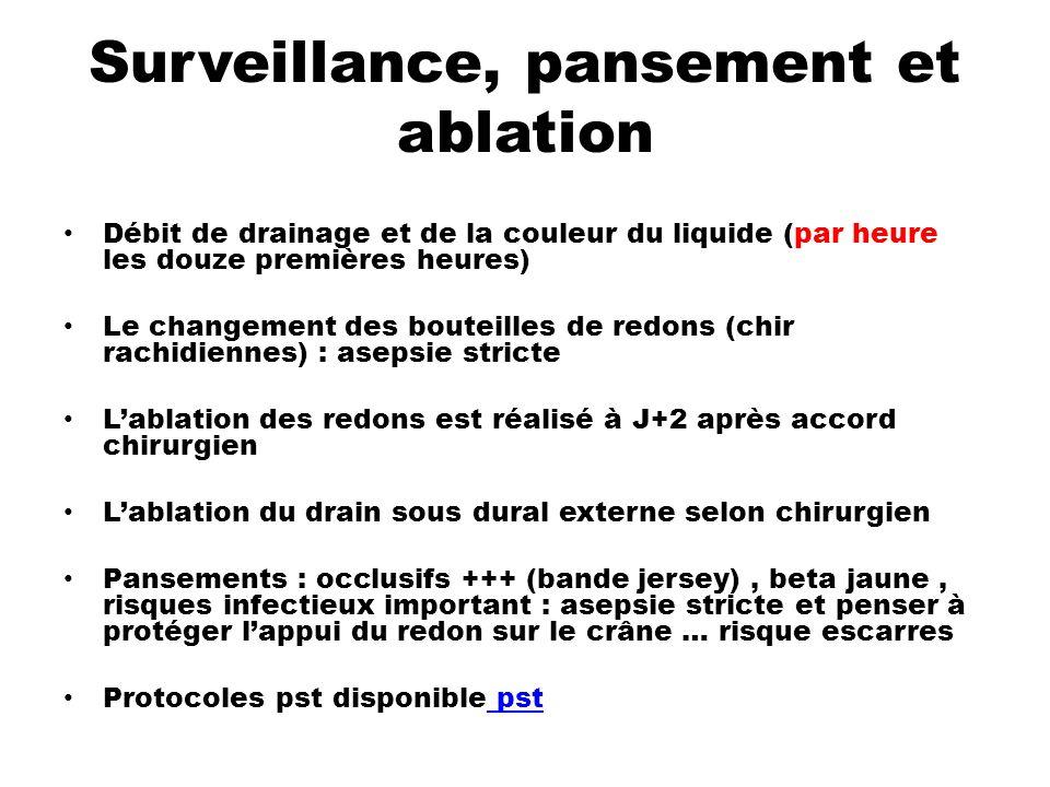 Surveillance, pansement et ablation