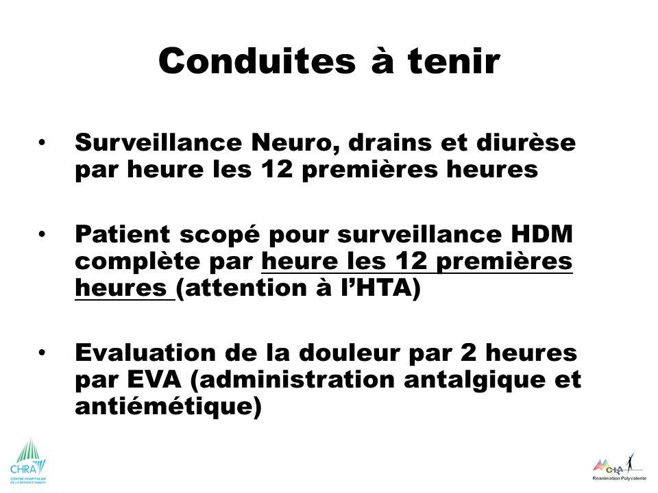 Conduites à tenir Surveillance Neuro, drains et diurèse par heure les 12 premières heures.