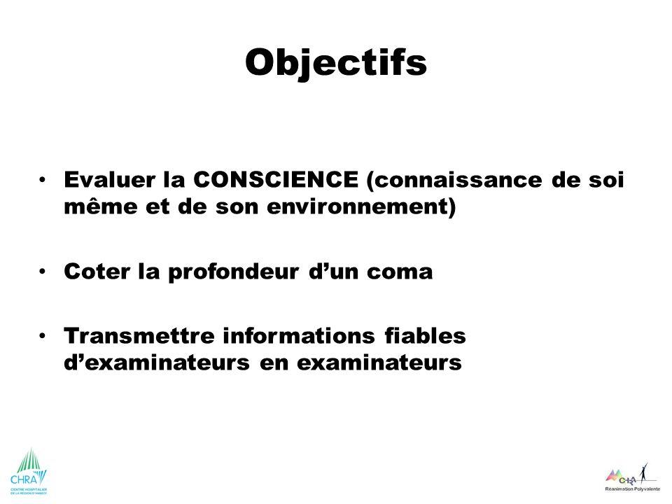 Objectifs Evaluer la CONSCIENCE (connaissance de soi même et de son environnement) Coter la profondeur d'un coma.