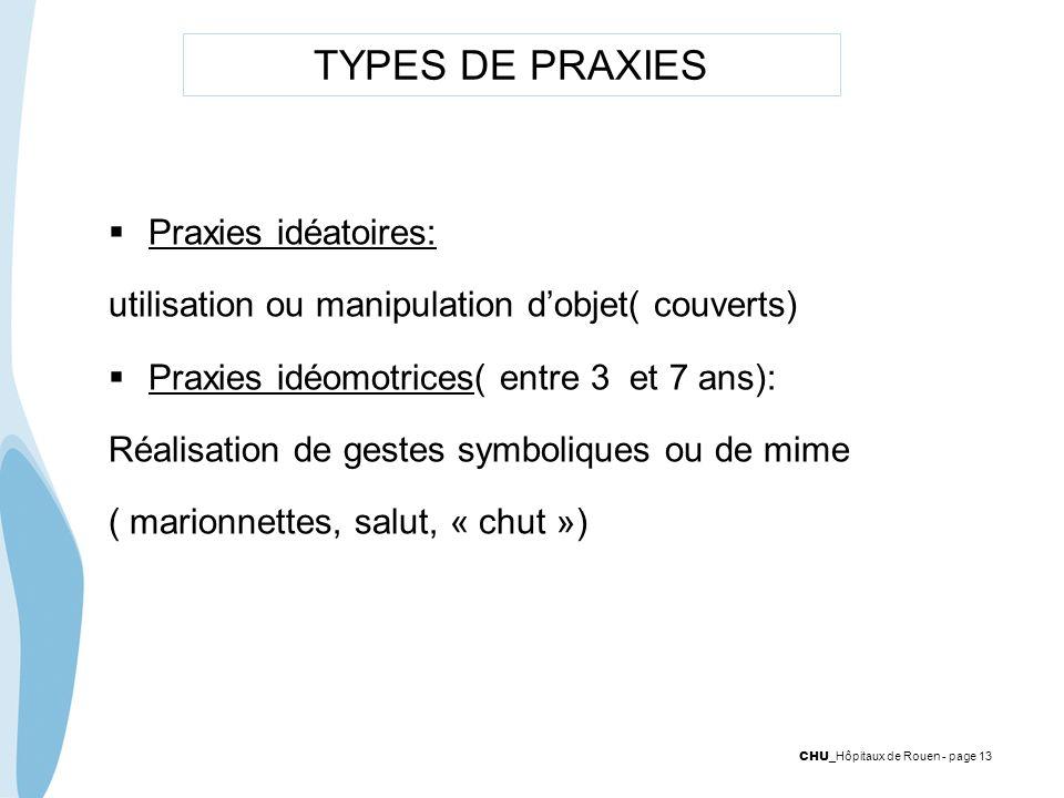 TYPES DE PRAXIES Praxies idéatoires: