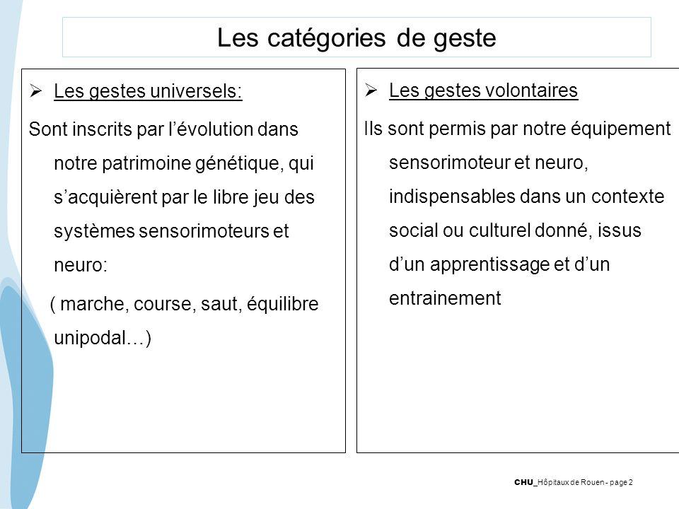 Les catégories de geste