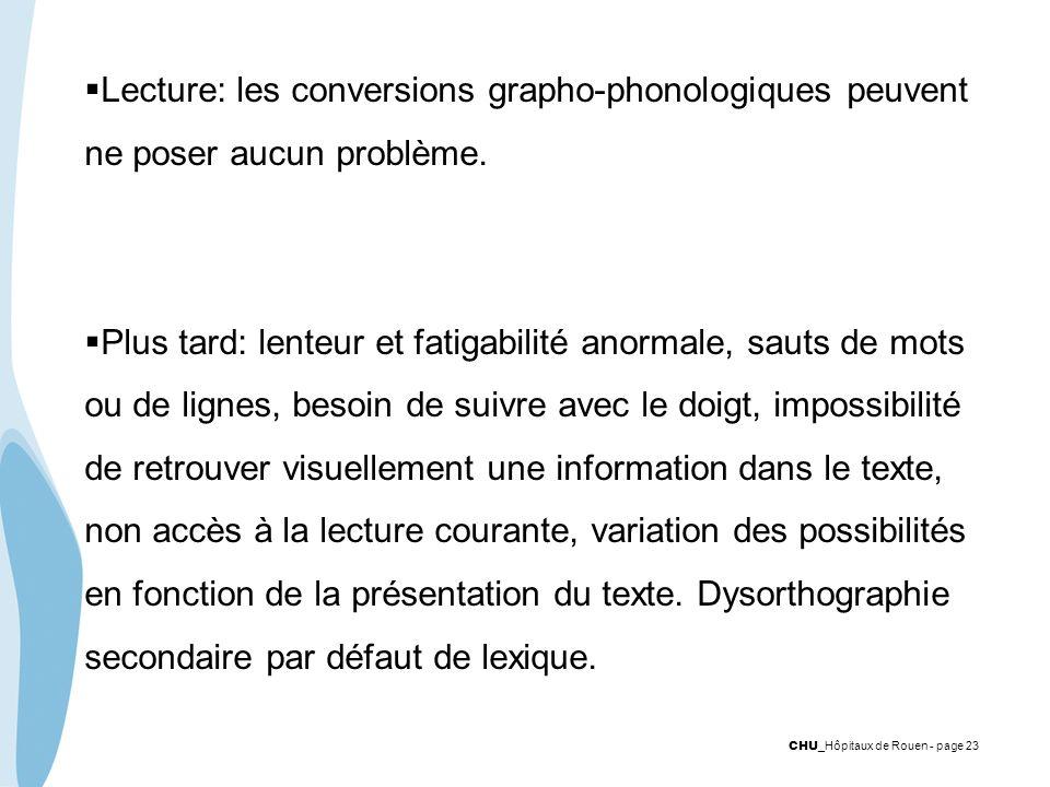 Lecture: les conversions grapho-phonologiques peuvent ne poser aucun problème.