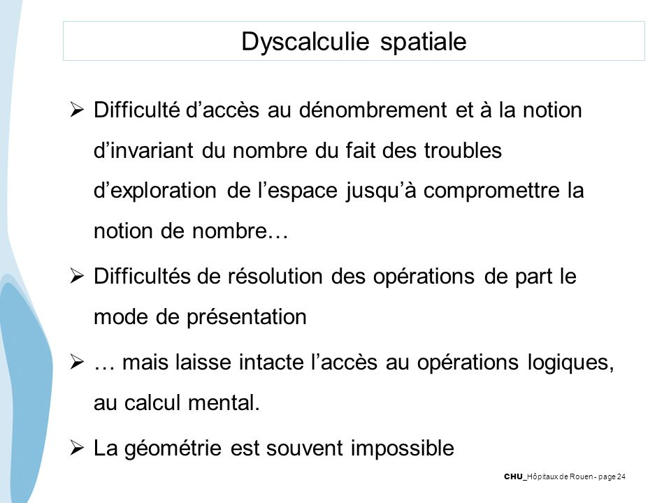 Dyscalculie spatiale