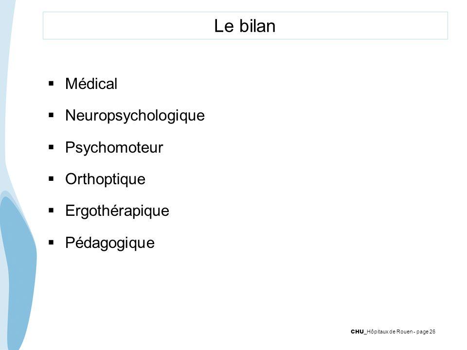 Le bilan Médical Neuropsychologique Psychomoteur Orthoptique